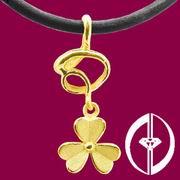 FORTUNE FLOWER - 24K REAL SOLID GOLD PENDANT (FORTUNE FLOWER - 24K реальных твердых золотой кулон)