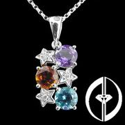 SYMBOL OF LUCK - 3 DIAMONDS & 3 CRYSTALS PENDANT 14K WHITE GOLD