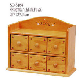 WOODEN BOX WITH 6 DRAWER
