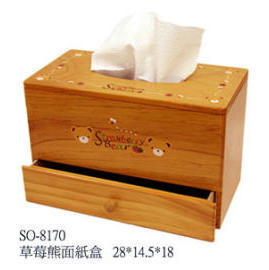 WOODEN TISSUE BOX WITH 1 DRAWER