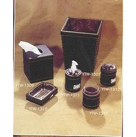 Leather Houseware bathroom set tissue cover and waste bin (Кожа Посуда Набор для ванной комнаты ткань покрова и мусорное ведро)