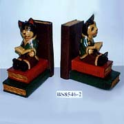 Wood carving book end