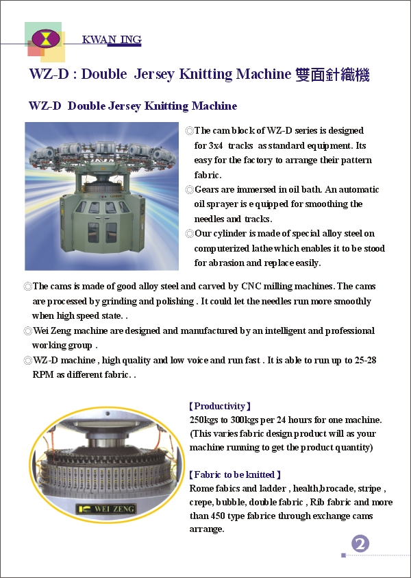 (3)WEI-ZENG DOUBLE JEERSEY KNITTING MACHINE INDEX
