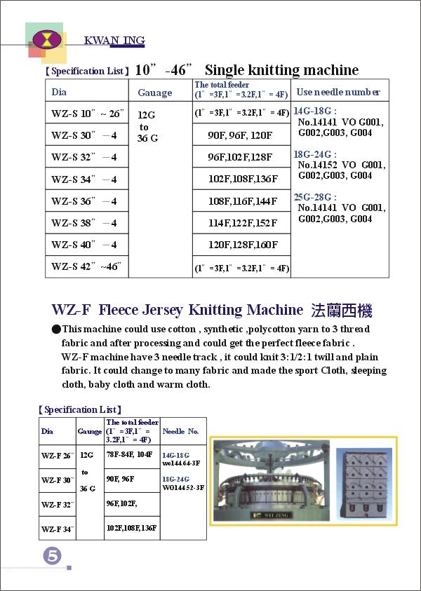 (6)WEI-ZENG SINGLE SERIES KNITTING MACHINE ((6) ВПО ZENG одну серию вязальная машина)