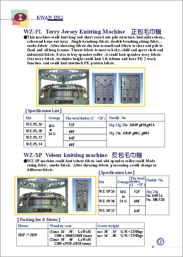 (7)WEI-ZENG SINGLE SERIES KNITTING MACHINE