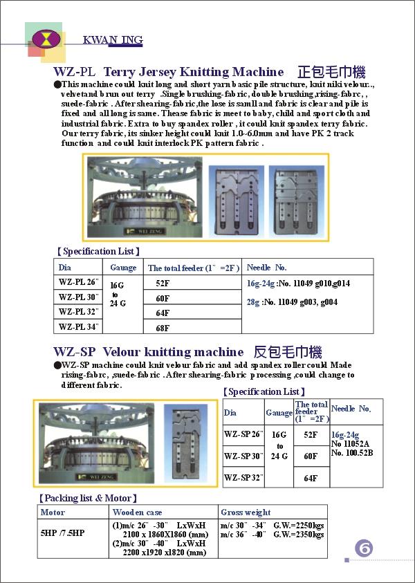 (7)WEI-ZENG SINGLE SERIES KNITTING MACHINE ((7) ВПО ZENG одну серию вязальная машина)