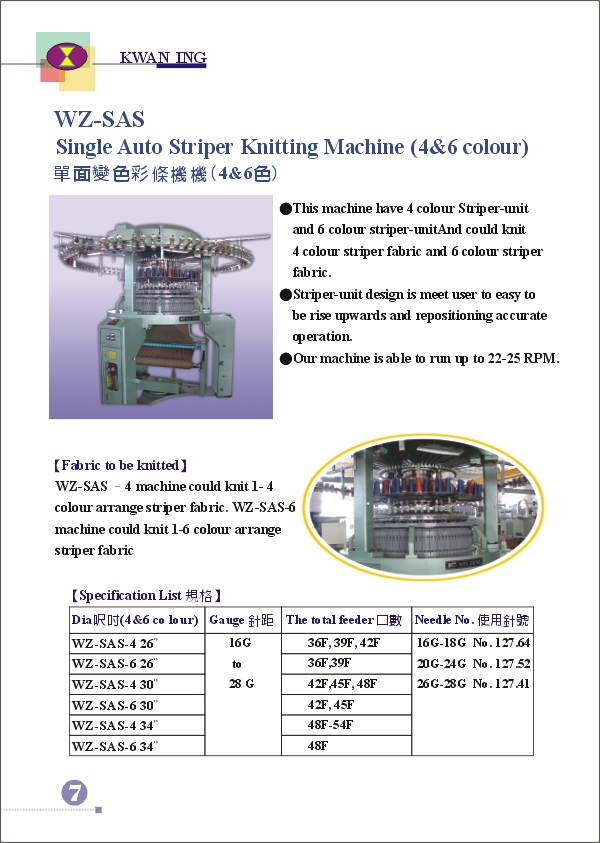 (8) WEI-ZENG SINGLE AUTO STRIPER KNITTING MACHINE (4&6) COLOURING MACHINE