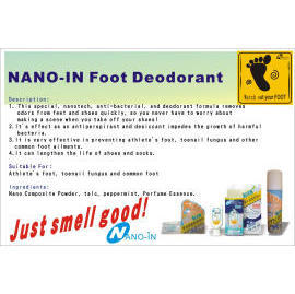 Foot Deodorant, anti-bacterial, antiperspirant, desiccant, athlete`s foot stoppe