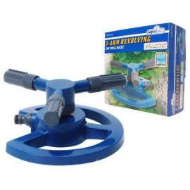 3-arm Revolving Plastic Sprinkler Head on Plastic Ring Base