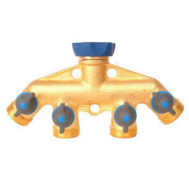 Screw-on Comfort Grip Brass Manifold 4-way Tap