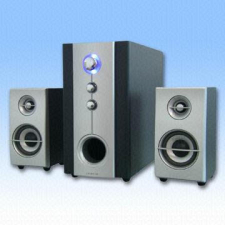 Powerful 2.1 Subwoofer Speaker System Designed with Blue LED Indicator