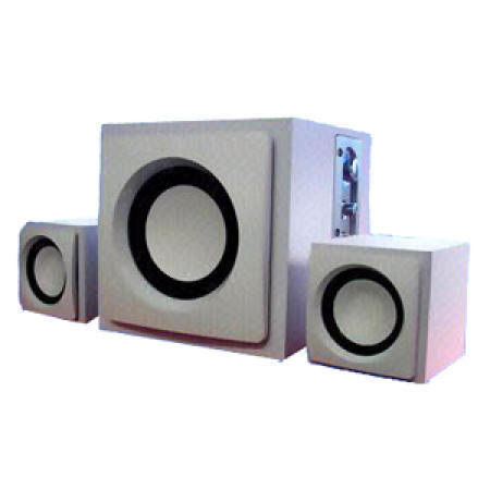Wooden Satellite 2.1 Subwoofer Speaker System in White with MP3 and Earphone Jac