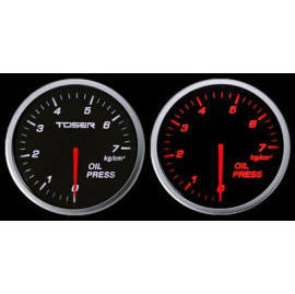 TOSER 60MM WHITE/RED OIL PRESSURE RACING GAUGE