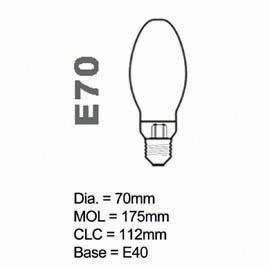 HPS Lamp E type 70W Coated E40
