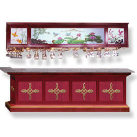 WOOD BAR`S COUNTER & CUP CABINET