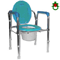 CHROM STEEL PLATED COMMODE, COMMODE CHAIR