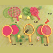 Model S-01, S-02, S-03, S-04, S-05 Sporting Rackets and Balls