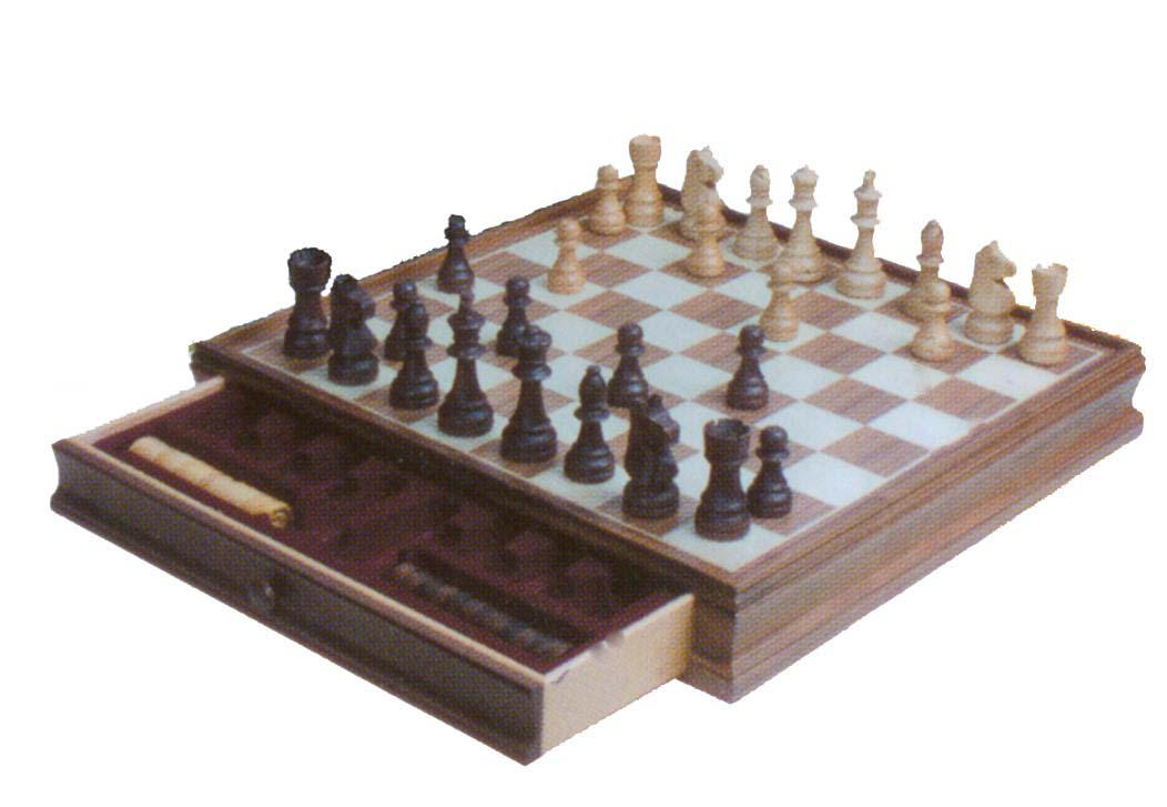 2-in-1 wooden chess set
