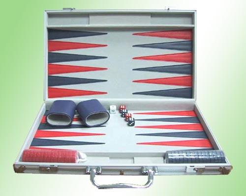 aluminum case backgammon set