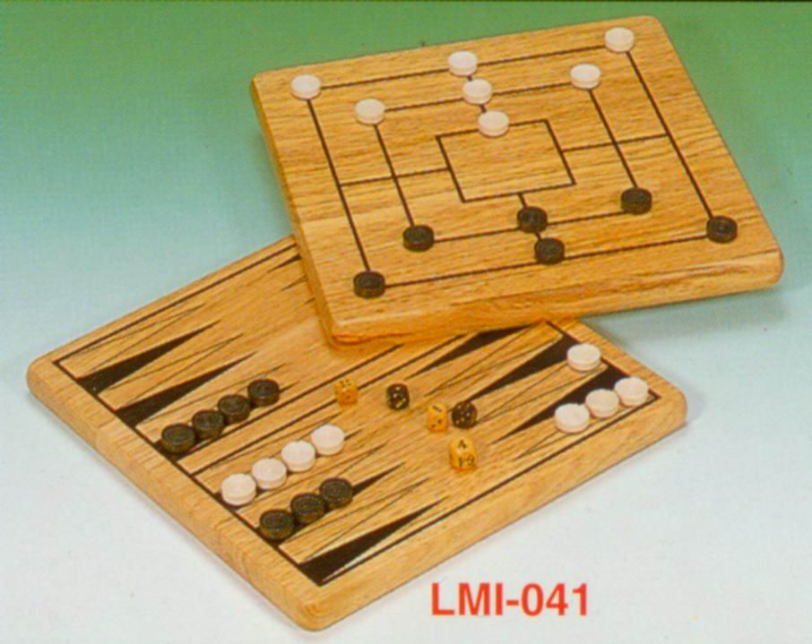 2-in-1 wooden backgammon/mill set (2-в  деревянными нард / Mill набор)