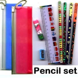 Pencil Bag,Stationery Set,Pencil Ruler Eraser Sharpener Set,Mechanical Pencil,Hi