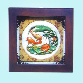 *New Wood carving & painting plaque