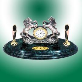 Double horses with clock pen desk set (Двухместные лошадей настольные часы Pen Set)