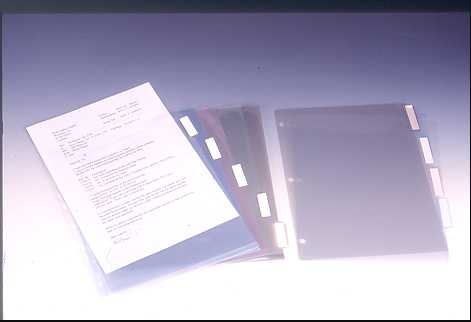 INDEX FOR RING BINDER , A4 ; 5 DIVIDERS