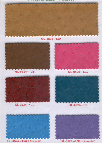 PVC Sponge Leather, Dull Ostrich Emboss