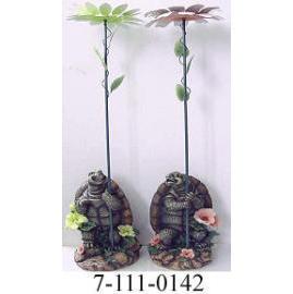 POLYRESIN TURTLE W/METAL FLOWER