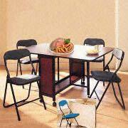 5-Piece Dinette Set with Butterfly Table and 4 Folding Chairs