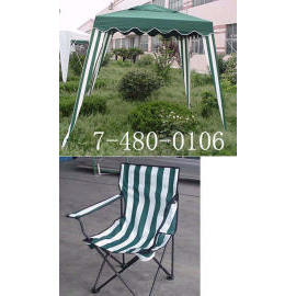 FABRIC GAZEBO WITH 2 MATCHING CHAIRS