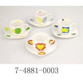 90 CC CUP&SUCER,PORCELAIN WITH DECAL (90 CC CUP & sucer, en porcelaine avec DECAL)