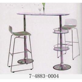 GLASS BAR TABLE WITH 2 TIER BOTTLE/GLASS SHELF (СТЕКЛО барная стойка СО 2 уровня BOTTLE / стеклянной полки)
