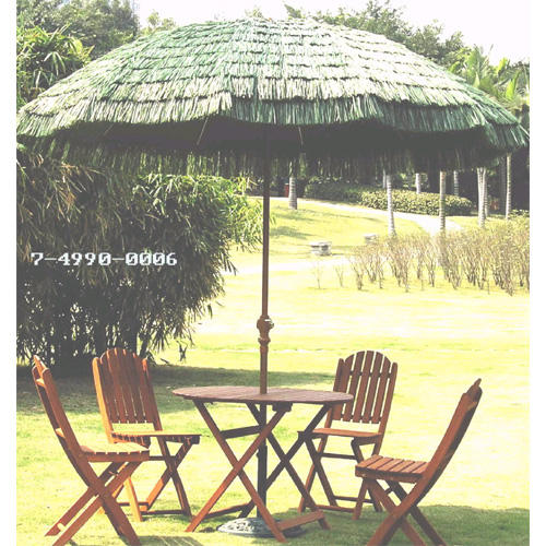 7-1/2 FT STEEL PATIO UMBRELLA + STRAW SKIRT