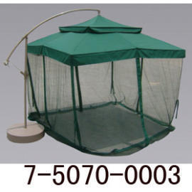 10` TWO TIER ALUM HANGING UMBRELLA W/BASE &MOSQUITO NET