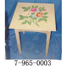 WOOD SIDE TABLE WITH FLORAL MOTIF