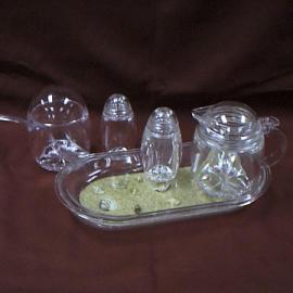 Sugar & Creamer Set + Salt/Pepper Shaker W/Decorative Tray (Sugar & Creamer Set + соли / перечница W / Декоративные лоток)