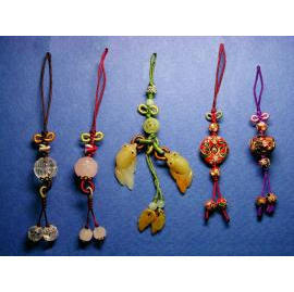 Chinese Knotting Cell Phone Ornaments,Chinese Hand-Knotted Pendants with Semi-Pr