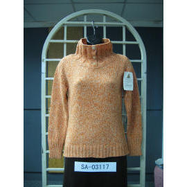 Ladies` Long Sleeve 3G Pullover Knitting Sweater