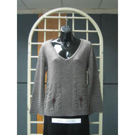 Ladies` Long Sleeve 7G Knitting Pullover Sweater