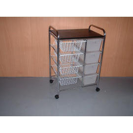 4 PLASTIC DRAWER CABINET,4 WIRE BASK