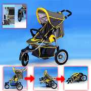 Steel Baby Strollers with Swivel Front Wheel