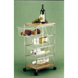 KITCHEN WIRE PRODUCTS 3 TIER ROLLING STORAGE CART