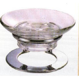 Standing soap dish W/glass cup, C.P. Brass (Постоянный мыльницы Вт / стеклянная чаша,  .P. Латунь)