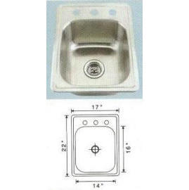 Stainless steel sink Overall Size: 17x22``, Big bowl: 16x14x6-7/8``