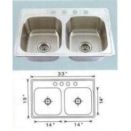 Stainless steel sink Overall Size: 33x19``, Big bowl:14x14x6-7/8`` (Раковины из нержавеющей стали Габаритные размеры: 33x19``, большой чаши: 14x14x6-7 / 8``)
