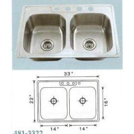 Stainless steel sink Overall Size: 33x22``, Big bowl:14x16x6-7/8`` (Раковины из нержавеющей стали Габаритные размеры: 33x22``, большой чаши: 14x16x6-7 / 8``)
