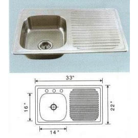 Stainless steel sink Overall Size: 33x22``, Big bowl:14x16x6``