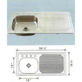 Stainless steel sink Overall Size: 39-1/2x19-3/4`` Big bowl:16x14x6``